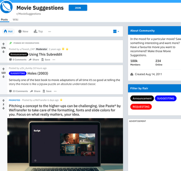 r/MovieSuggestions - reddit.comrMovieSuggestions